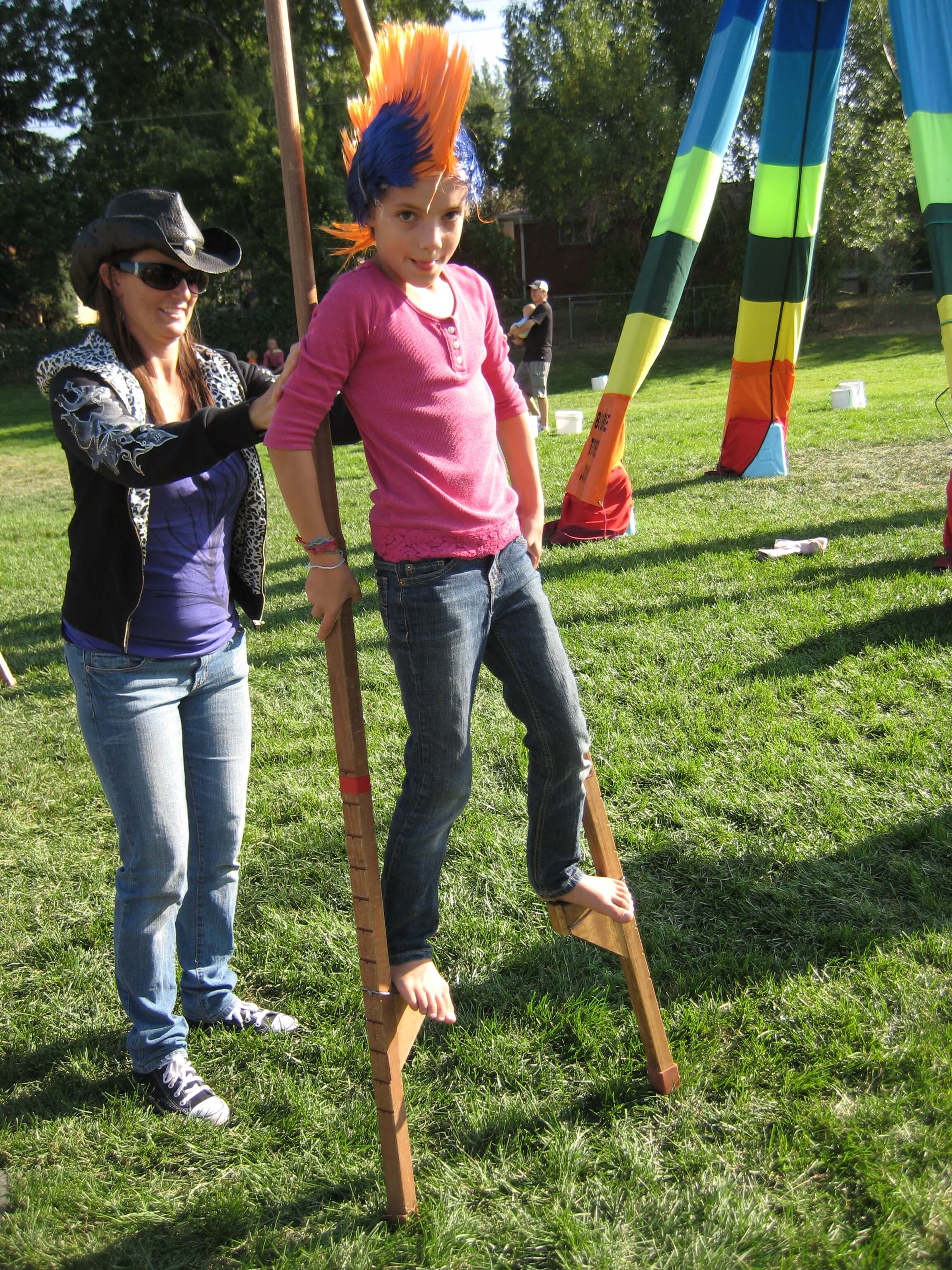 Learning to walk on stilts at Broomfield Days 2010