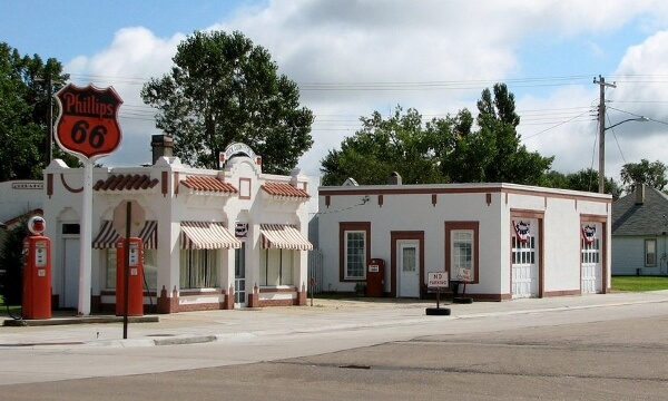 Tiny Antique Phillips 66 gas station in Basset, NE