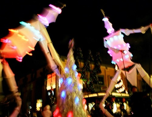 Giant Parade Puppets with holiday lights