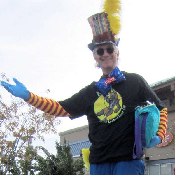 Stilt walker Stretch the nine foot clown at the Halloween Hullabaloo at Centerra  .  Loveland Laser Tag was my sponsor.  THANK YOU LOVELAND LASER TAG!