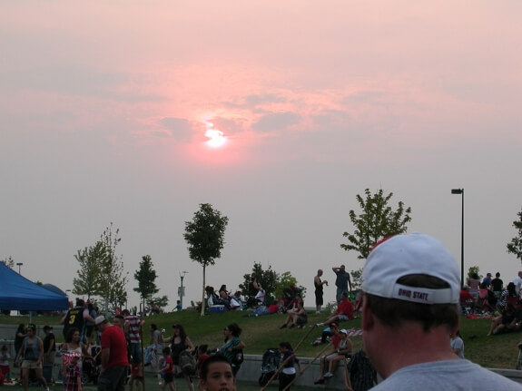 smoke over Independence Day at Commerce City