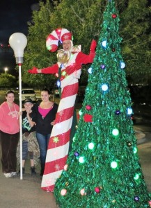 Stretch the Giant Candy Cane and Dancing Christmas Tree at the Surprise Party