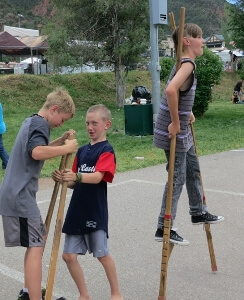 Classic hand held wood stilts are fun for all ages!