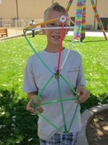 Having fun! Connected Stretch-a-Straws®  pyramids.