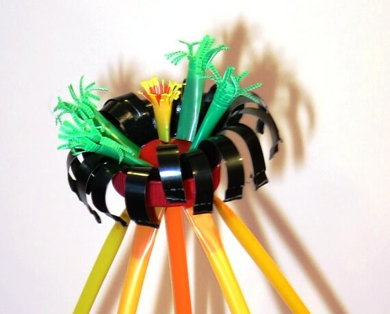 Flower with Stretch-a-Straws™ bendy straws, bottle cap base and coffee po