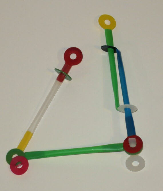 By combining straws and Stretch-a-Straws®  connectors, you can adjust length, orientation, and angle. Straws can be hinged together and/or telescope to allow them to rotate and change angles. Elbows can be free-moving or locked into place