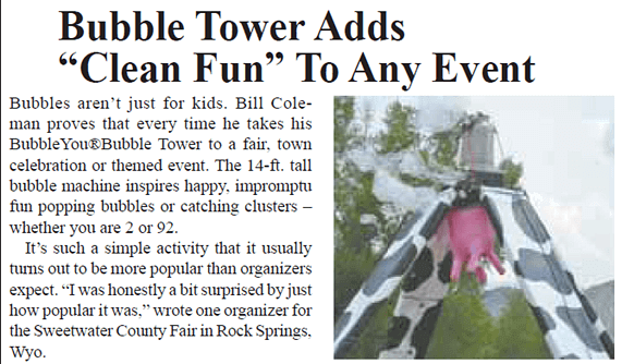 Bubble Tower Adds Clean Fun