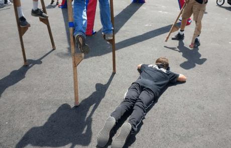 Victim for Stilt walking over